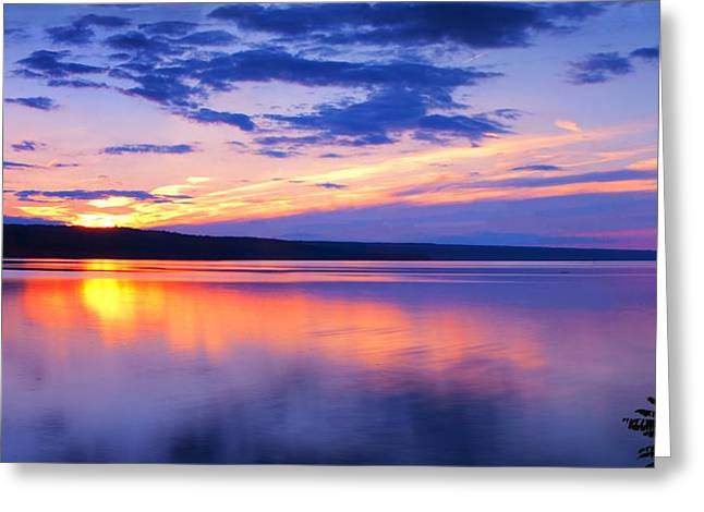 Photo-realism Greeting Cards - Sunset On Cayuga Lake IV Ithaca New York Greeting Card by Paul Ge