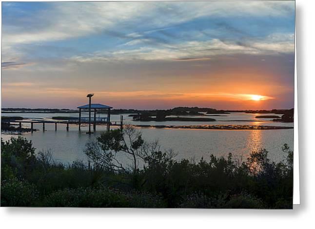 Sunset On Cedar Key Bayou Greeting Card by Lynn Palmer