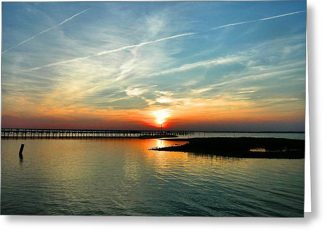 Sunset On Chincoteague Bay Greeting Card by Steven Ainsworth