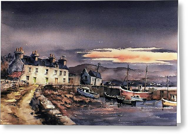 Val Byrne Greeting Cards - Sunset on Coraun Harbour Mayo Greeting Card by Val Byrne