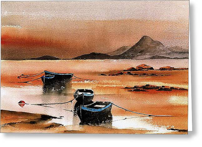 Tour Ireland Greeting Cards - Sunset on Croagh Patrick   Mayo Greeting Card by Val Byrne