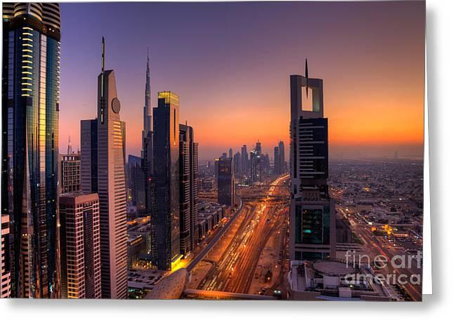 Fototrav Print Greeting Cards - Sunset on Dubai Skyline Greeting Card by Fototrav Print