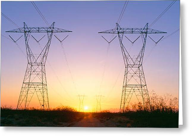 Lines Of Energy Greeting Cards - Sunset On Electrical Transmission Greeting Card by Panoramic Images