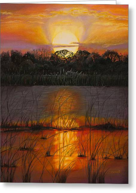 Sunset Posters Greeting Cards - Sunset on Floridas lake Greeting Card by Zina Stromberg