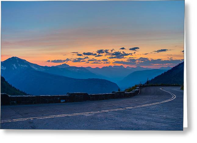 West Glacier Greeting Cards - Sunset on Going-to-the-Sun Road Greeting Card by Adam Mateo Fierro