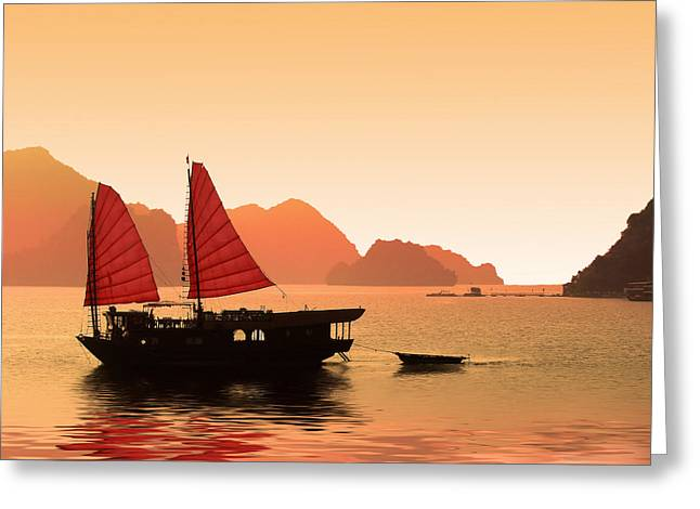 Boat Cruise Greeting Cards - Sunset on Halong Bay Greeting Card by Delphimages Photo Creations