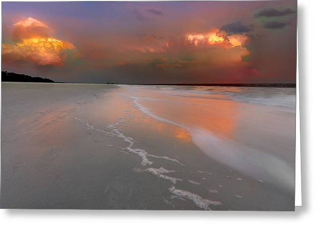 Recently Sold -  - Ocean Photography Greeting Cards - Sunset on Hilton Head Island Greeting Card by Peter Lakomy