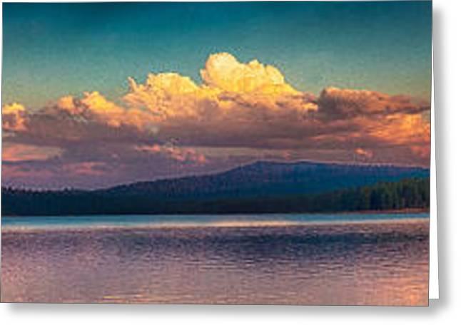 Sunset On Howard Prairie Lake Greeting Card by Omaste Witkowski