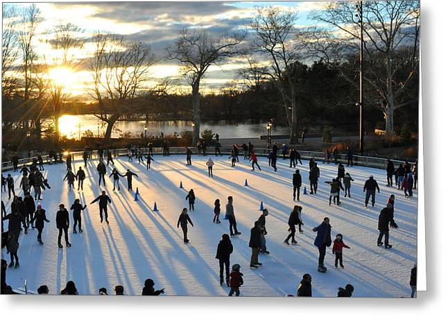 Ice-skating Greeting Cards - Sunset on Ice  Greeting Card by Diane Lent
