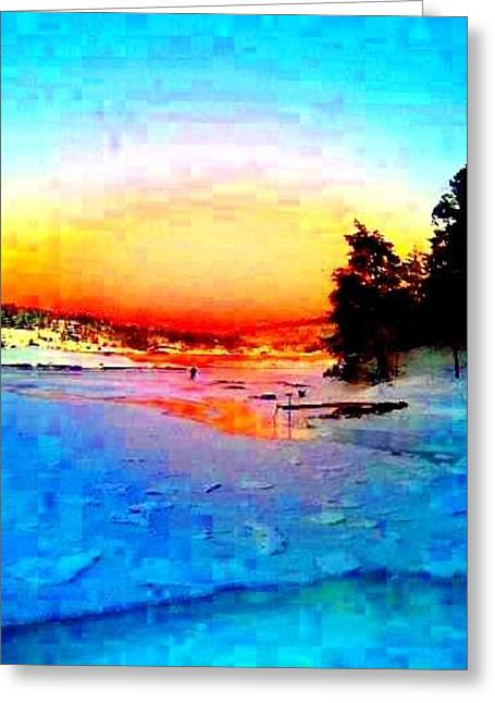 Sweating Greeting Cards - Sunset on ice Greeting Card by Hilde Widerberg