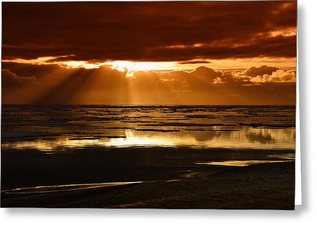 Ocean. Reflection Greeting Cards - Sunset on Ice Greeting Card by Mountain Dreams