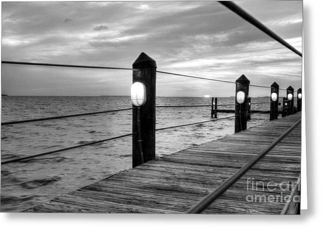 Steel Pier Greeting Cards - Sunset On Islamorada BW Greeting Card by Mel Steinhauer