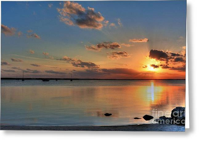 Yellow Sailboats Greeting Cards - Sunset On Key Largo Greeting Card by Mel Steinhauer