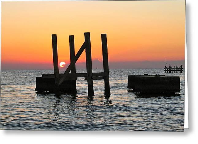 Slidell Greeting Cards - Sunset on Lake Borgne Greeting Card by Rhonda Leonard