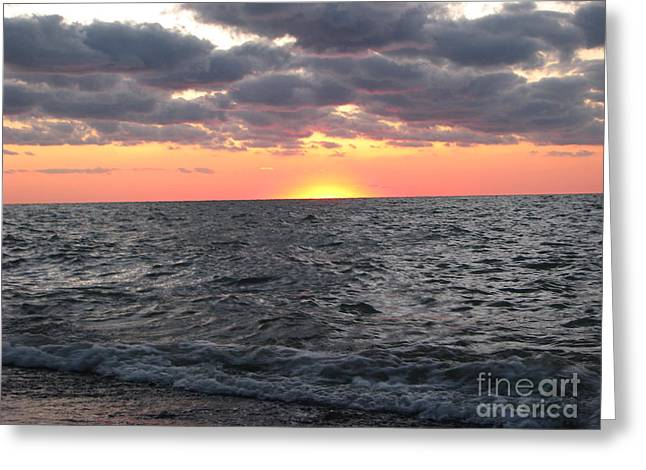 Ohio Greeting Cards - Sunset On Lake Erie Greeting Card by Michael Krek