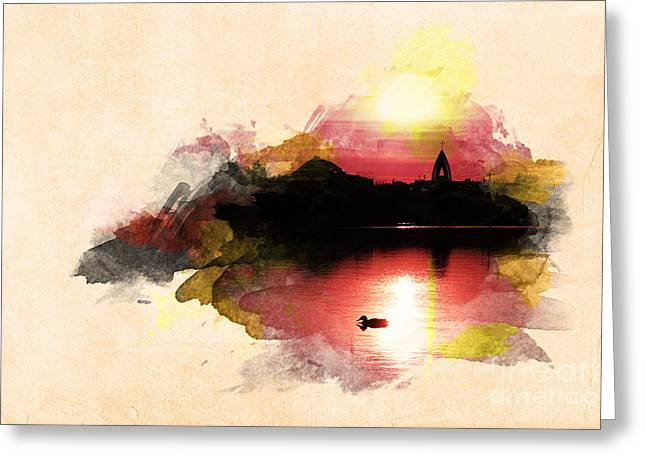 Greeting Cards - Sunset on Lake Greeting Card by Martin Dzurjanik