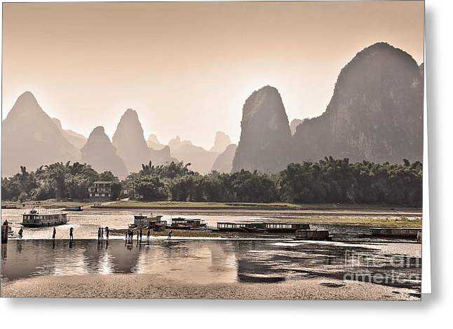 Boat Cruise Greeting Cards - Sunset on Li river Greeting Card by Delphimages Photo Creations