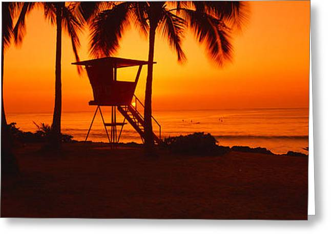 Ocean Shore Greeting Cards - Sunset On Lifeguard Tower At Wailua Greeting Card by Panoramic Images