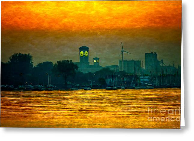Large Clock Greeting Cards - Sunset on Milwaukees South Side  Greeting Card by Mary Machare