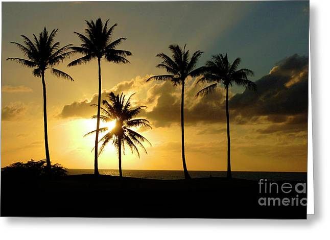 Surfing Photos Pastels Greeting Cards - Sunset On Molokai Hawaii Greeting Card by Bob Christopher