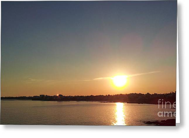 Cities Pyrography Greeting Cards - Sunset on Montevideo Greeting Card by Pablo Franchi