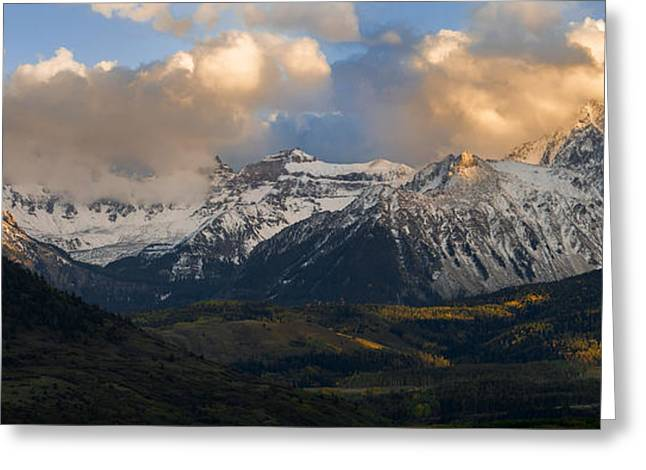 Snowy Evening Greeting Cards - Sunset on Mt. Sneffels Greeting Card by Aaron Spong
