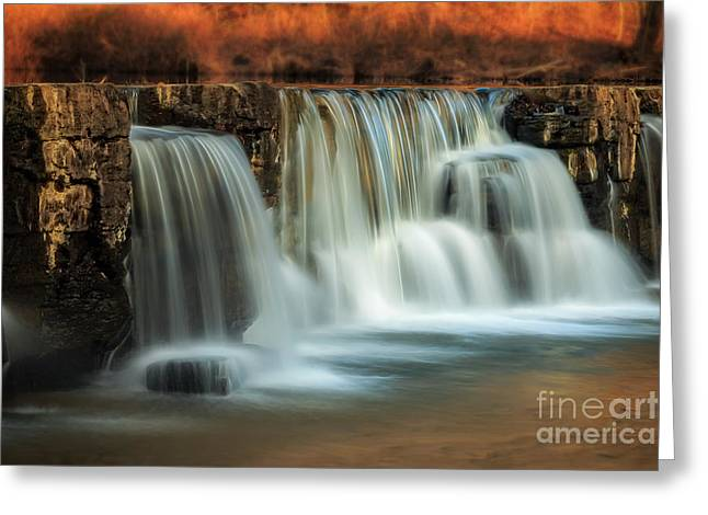 Natural Dam Arkansas Greeting Cards - Sunset on Natural Dam Greeting Card by Larry McMahon