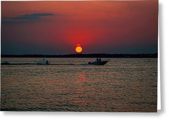 Ski Art Greeting Cards - sunset on Ortley Beach Greeting Card by Geraldine Scull