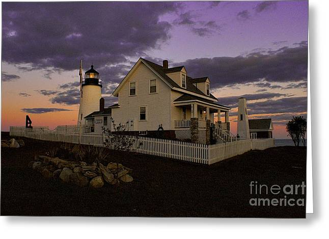 Pemaquid Lighthouse Greeting Cards - Sunset on Pemaquid Lighthouse Greeting Card by Sean Cupp