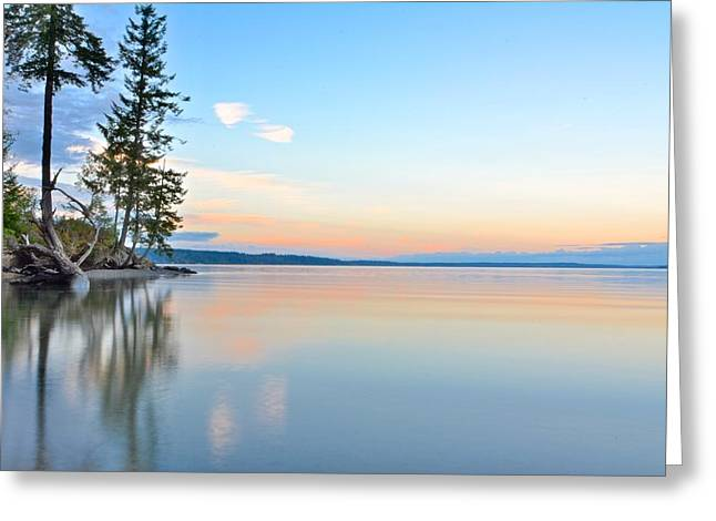 Steilacoom Greeting Cards - Sunset on Penrose Point Greeting Card by Rachel Cash