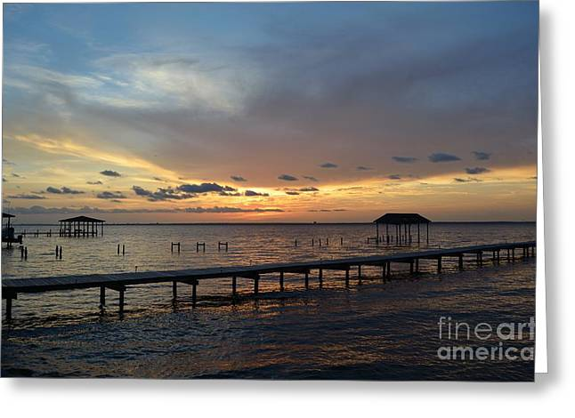 Pensacola Fishing Pier Greeting Cards - Sunset on Pensacola Bay Greeting Card by Joseph Cross