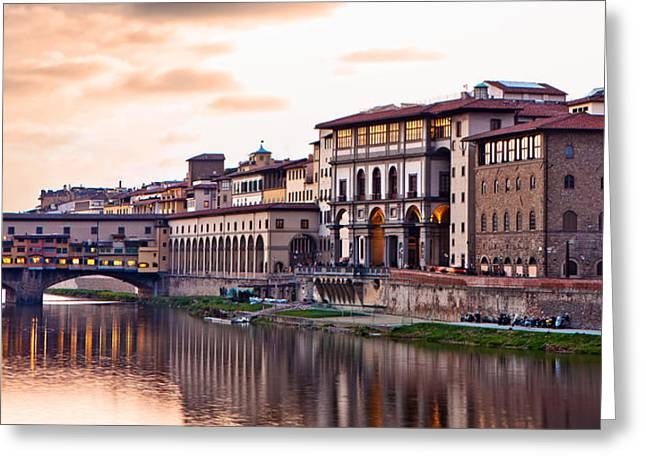 Night Cafe Greeting Cards - Sunset on Ponte Vecchio in Florence Greeting Card by Susan  Schmitz