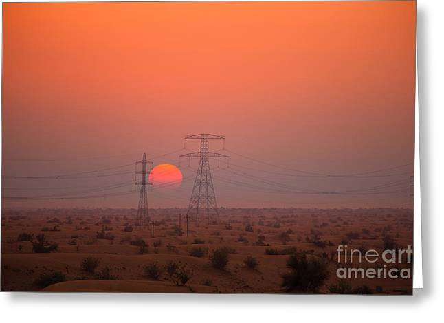 High Voltage Greeting Cards - Sunset on pylons in Dubai desert Greeting Card by Fototrav Print