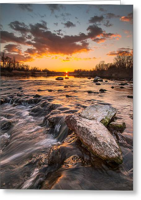 Stones Photographs Greeting Cards - Sunset on river Greeting Card by Davorin Mance