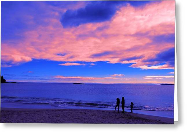 Maine Beach Greeting Cards - Sunset on Sand beach Acadia National Park Maine Greeting Card by Paul Ge