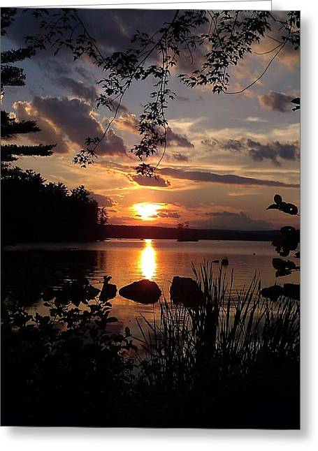 Sunset On Sebago 2 Greeting Card by Donnie Freeman