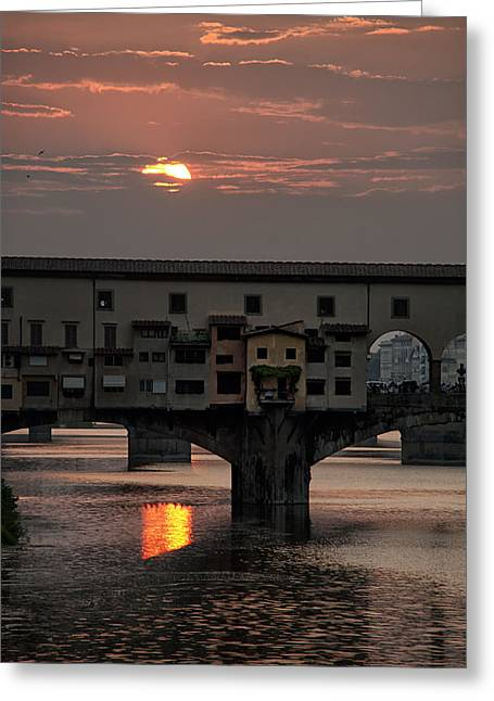 Mancave Photos Greeting Cards - Sunset on the Arno River Greeting Card by Melany Sarafis