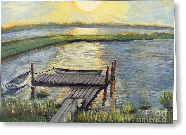Sunset On The Bay Greeting Card by Rita Brown