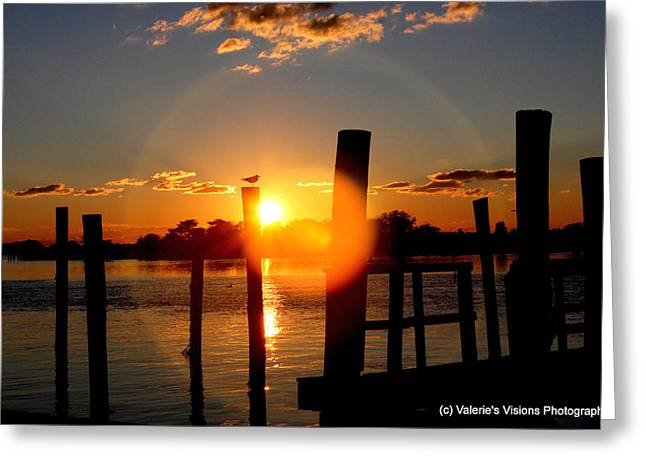 Stein Greeting Cards - Sunset on The Bay Wildwood n.j. Greeting Card by Valerie Stein