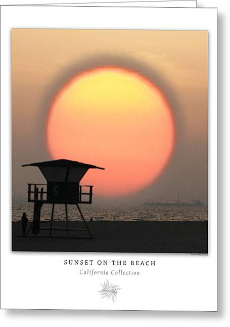 Seaside Decor Posters Greeting Cards - Sunset On The Beach Art Poster - California Collection Greeting Card by Ben and Raisa Gertsberg