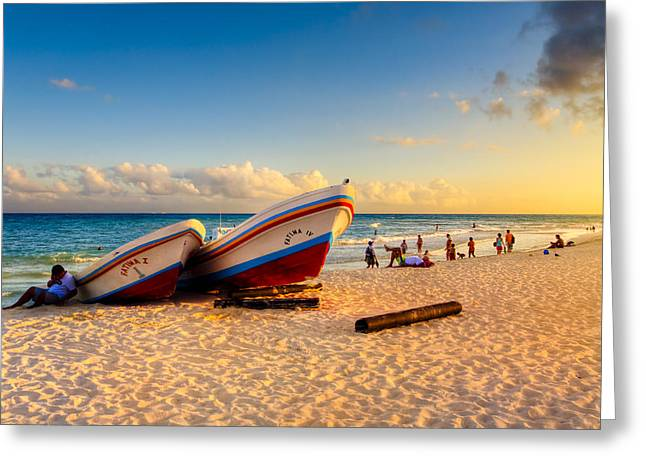 Mexican Culture Greeting Cards - Sunset On The Beach At Playa Del Carmen Greeting Card by Mark Tisdale