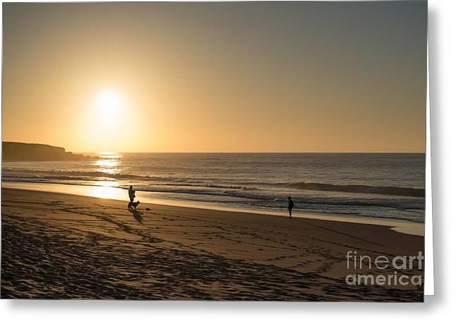 Hawaii Dog Photo Greeting Cards - Sunset on the beach photo scene Greeting Card by Gordana Kuty