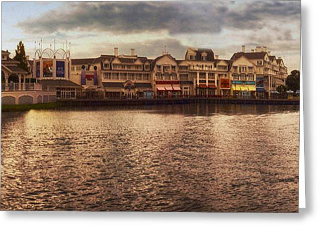 Wdw Greeting Cards - Sunset On The Boardwalk Walt Disney World Greeting Card by Thomas Woolworth