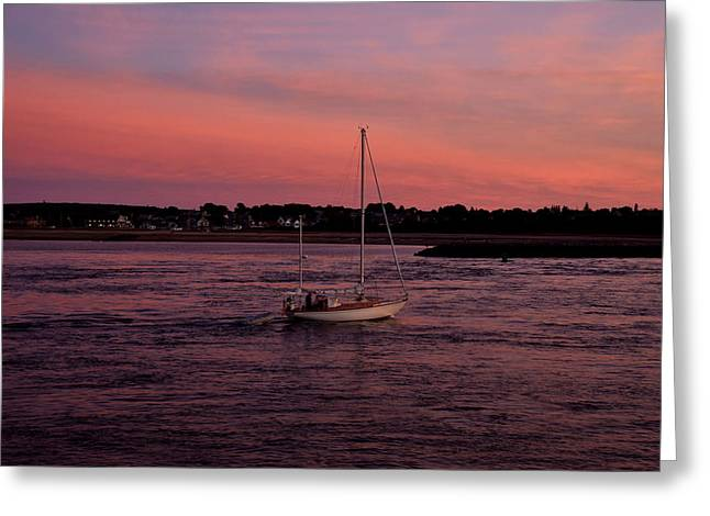 Scusset Beach. Greeting Cards - Sunset on the canal Greeting Card by Brian Mooney