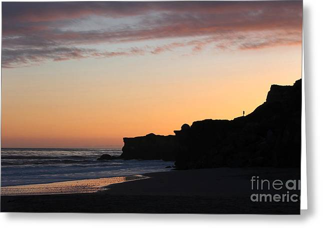 Steamer Lane Greeting Cards - Sunset on the Coast Greeting Card by Alison Macias