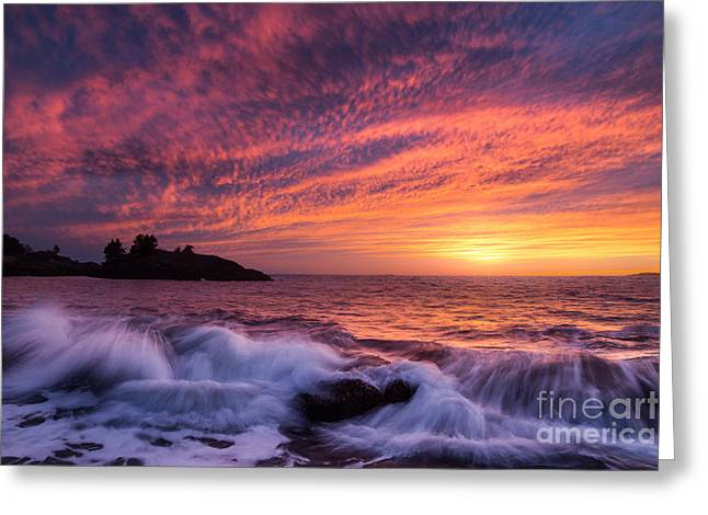 Storm Prints Greeting Cards - Sunset on the Coast of Maine Greeting Card by Benjamin Williamson