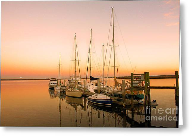 Boats At Dock Greeting Cards - Sunset On The Dock Greeting Card by M J Glisson