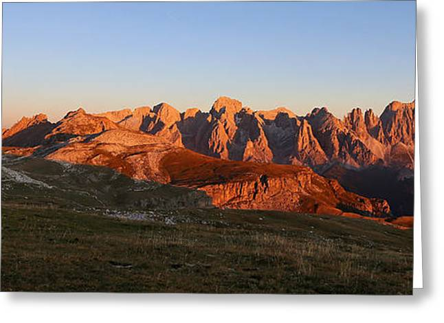 Rosengarden Greeting Cards - Sunset on the Dolomites Greeting Card by Alberto Perer