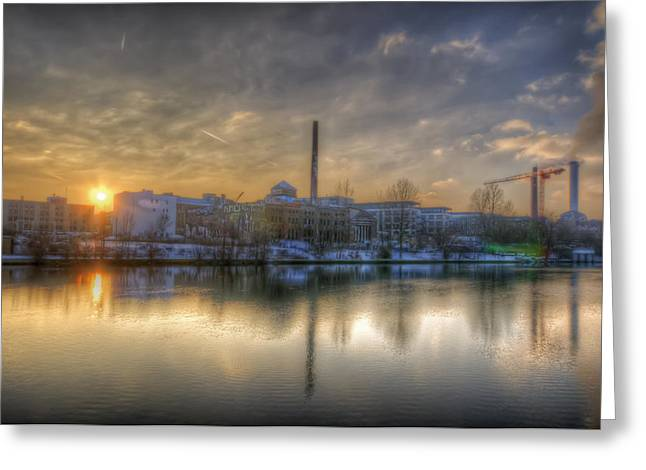 White River Scene Digital Art Greeting Cards - Sunset on the Esifabrik Greeting Card by Nathan Wright