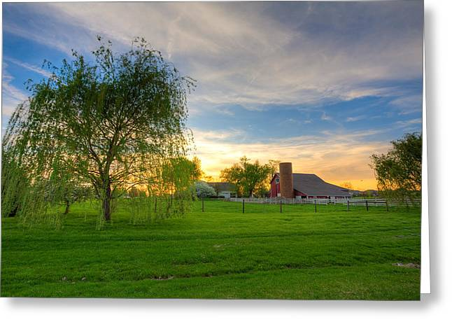 Rural Indiana Greeting Cards - Sunset on the farm Greeting Card by Alexey Stiop